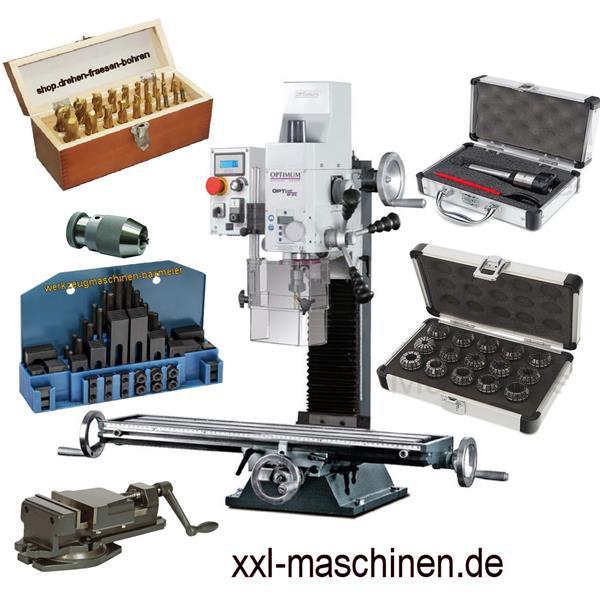 Opti Mill BF 20 L + FMS Schraubstock + Fräserset + Bohrfutter + Spannwerkzeug + ER Spannzangen und