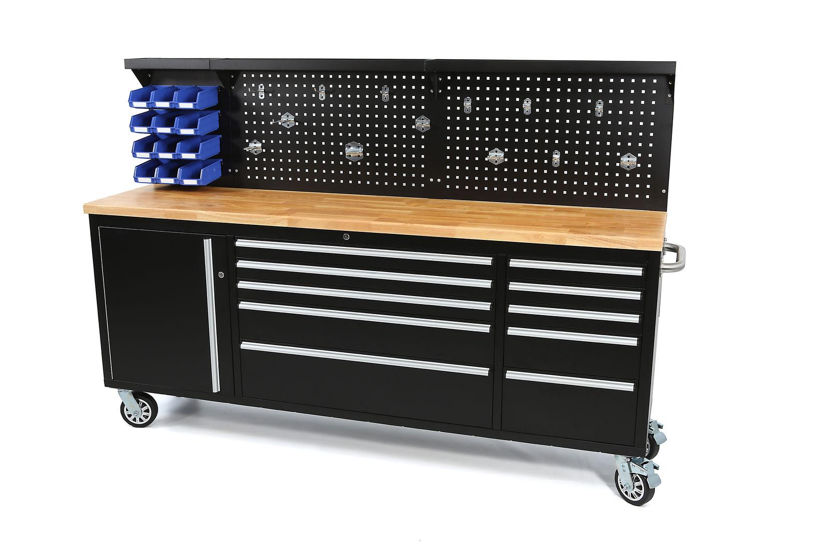 werkstattwagen werkzeugwagen mit holz arbeitsplatte 214 x 76 5 x 48 5 cm 180 kg 10. Black Bedroom Furniture Sets. Home Design Ideas