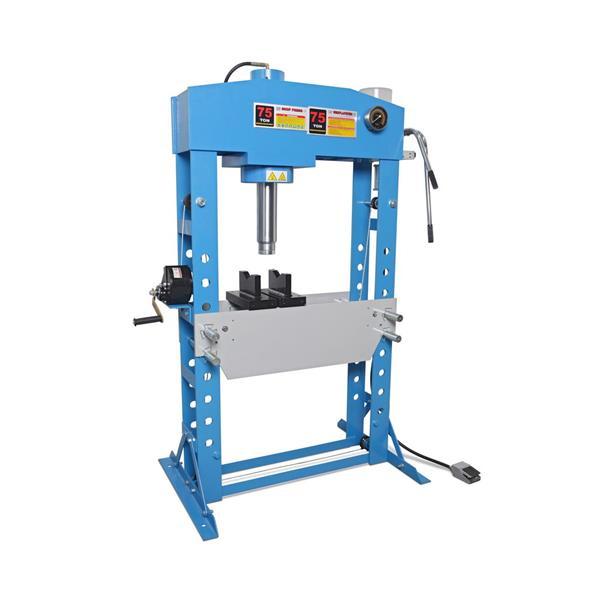 Werkstattpresse WP 75 mit Manometer, 75 T Pressdruck / Gewicht 425 KG/ Hydraulisch Pneumatisch