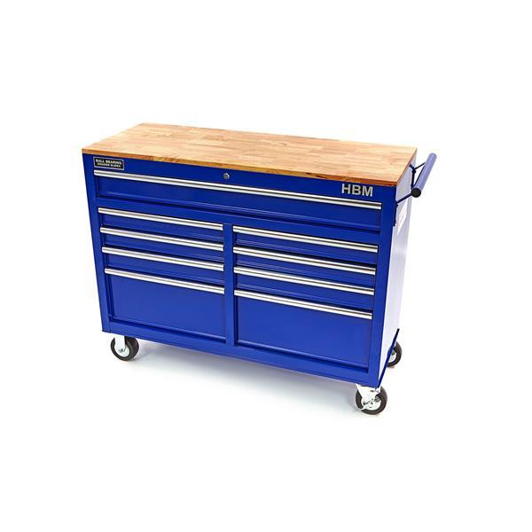 blauer Werkstattwagen mit Holzarbeitsplatte