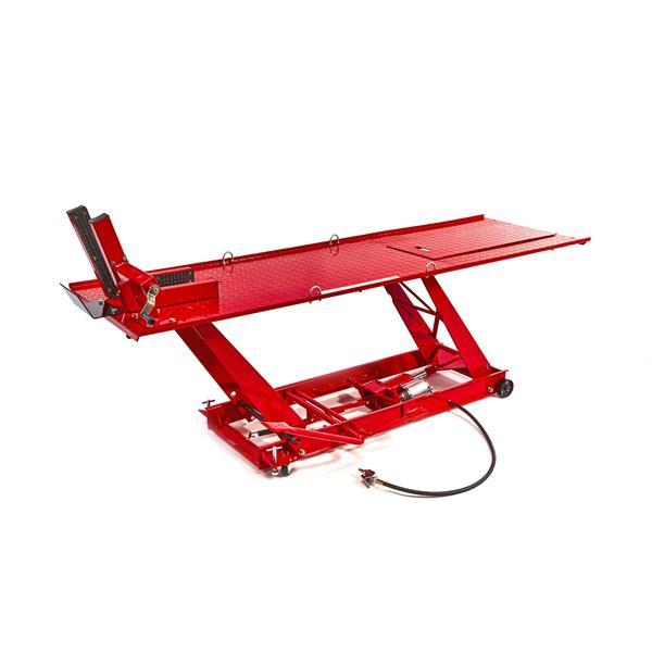 01312 Rote Motorradhebebühne HB 300 Pneumatik - 450 KG Hubleistung mit Pressluft und Fußantrieb