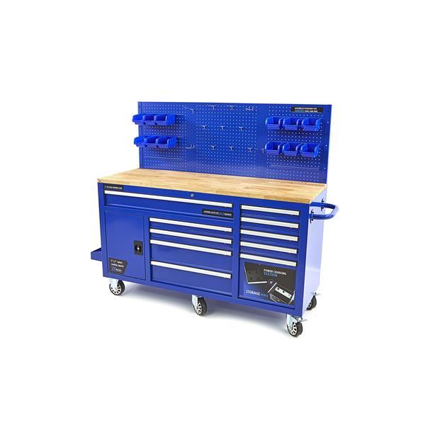 Werkstattwagen - Werkzeugwagen mit Schubladensystem, Rückwand und Holz - Arbeitsplatte