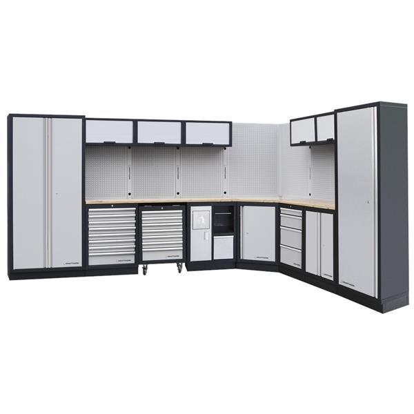 modulare Werkstattwand mit Birkenholzarbeitsplatte