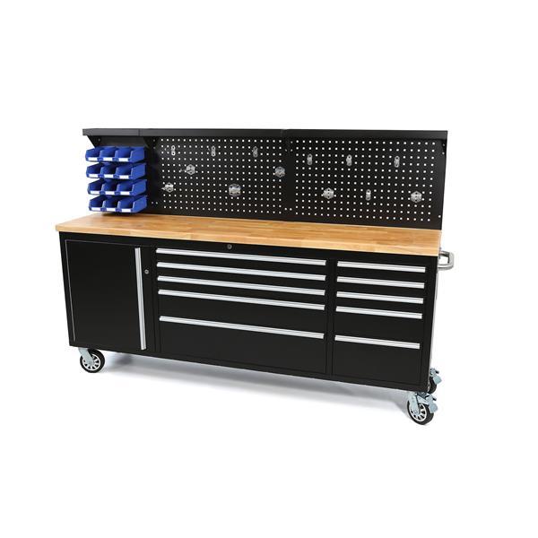Werkstattwagen - Werkzeugwagen - Werkbank - 214 x 76,5 x 48,5 cm -180 Kg 10 Schubladen - 1 Türfach -