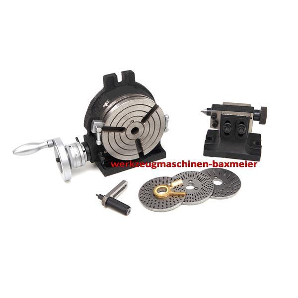 Teilapparat / Rundtisch 150 mm mit Teilscheiben, Reitstock und Kleinzubehör