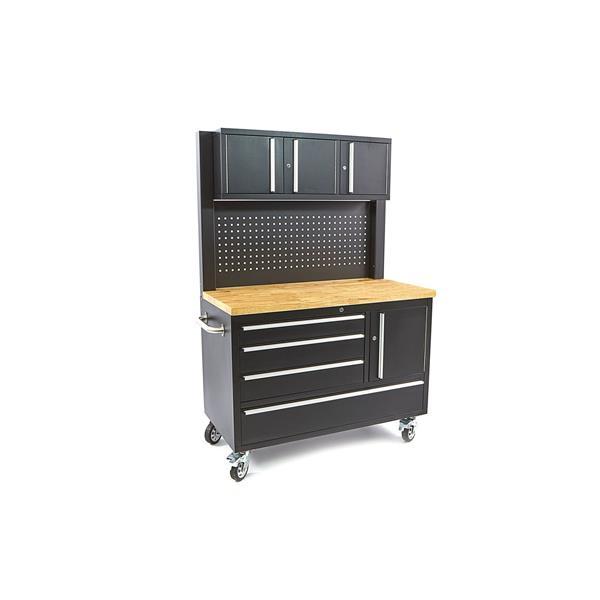 Werkstattwagen schwarz Pulverbeschichtet mit Oberschrank, Rückwand und Holzarbeitsplatte