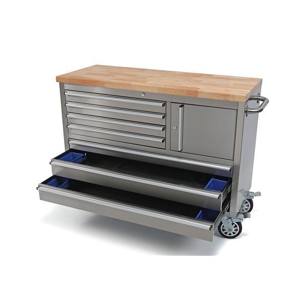 Edelstahl Werkstattwagen mit 7 Schubladen und einem Schrankfach 122 x 48,5 x 70 cm
