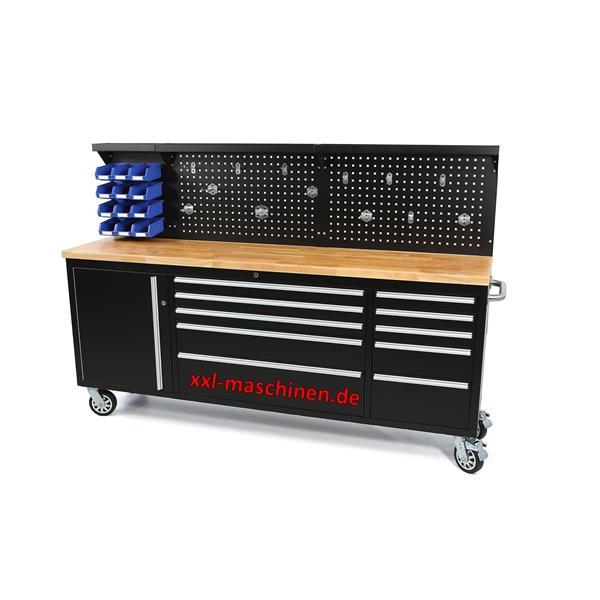 Großer Werkstattwagen mit Rueckwand 10 Schubladen + Schrankfach 215 cm lang