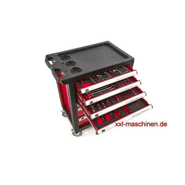 Werkstattwagen rot pulverbeschichtet mit 7 Schubladen und 154 Werkzeugteilen Füllung