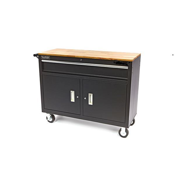 Werkstattwagen schwarz pulverbeschichtet mit Schranktüren und Schubfach