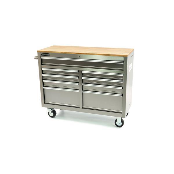 Edelstahl Werkstattwagen mit 9 Schubladen und Holz Arbeitsplatte