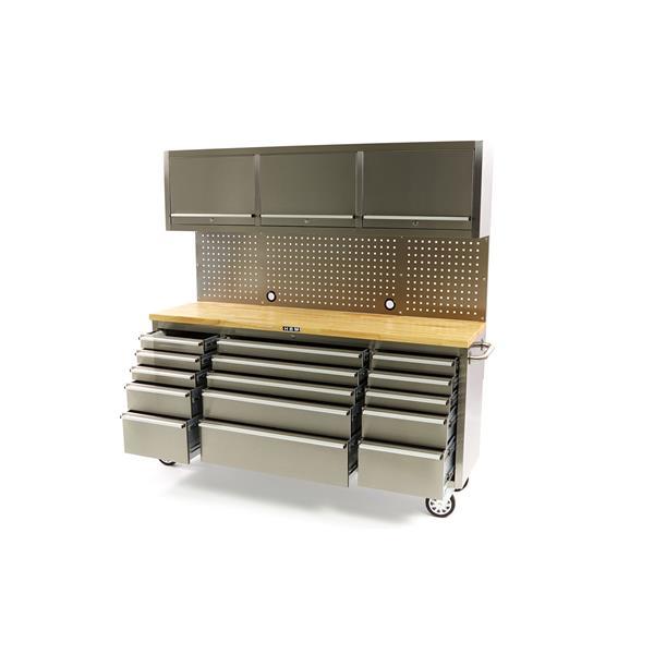 Werkstattwagen Werkzeugwagen Edelstahl 15 Schubladen Oberschrank Holzplatte
